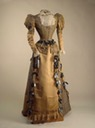 1890s Maria Feodorovna's visiting dress of silk, velvet, chiffon, lace, aiguillettes of metal, ribbon by Worth (Hermitage)