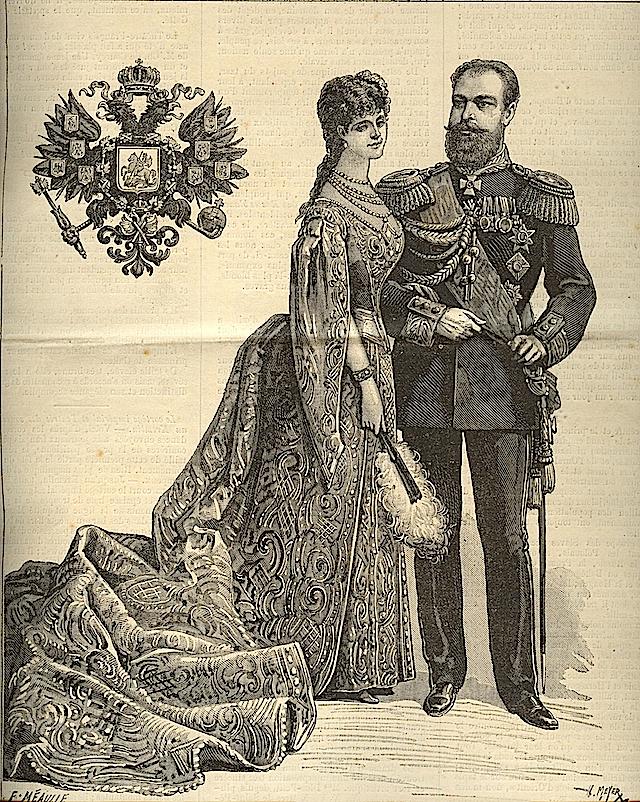 """1883 царь Александр III и Мария Федоровна рисунок сделал для своей коронации и опубликован в """"Le Journal Иллюстрированная"""""""