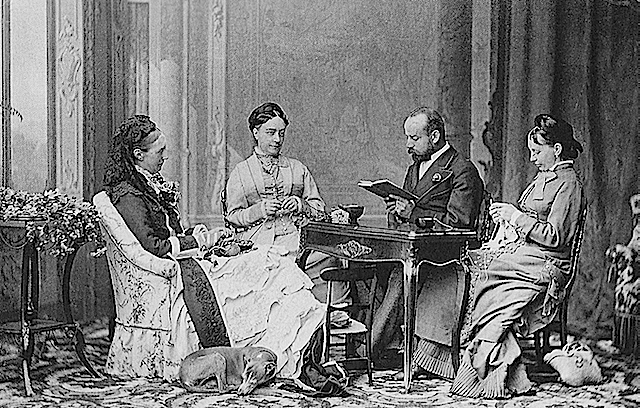 1885 Queen Olga, two ladies-in-waiting and a reader, probably Charles Woodcock by Guiseppe Ambrosetti