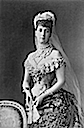 1889 Alexandra in grand dress wearing the Rundell tiara detint