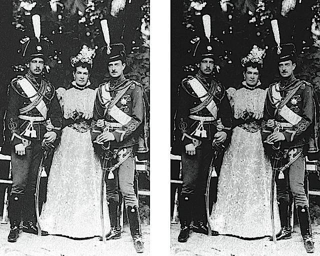1890s Maria Pavlovna the Elder Miechen with her sons, Boris and Kirill APFxSvetabel 3Apr05 original and darkened