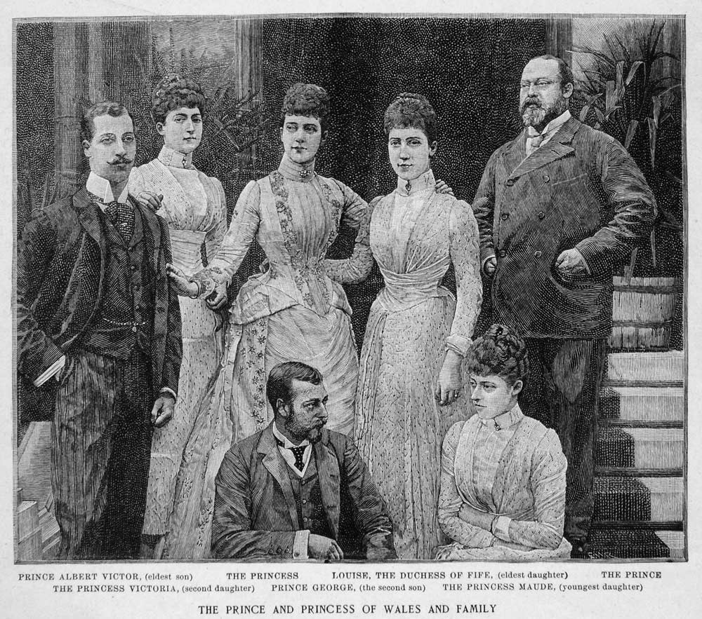 1891 Print Prince and Princess of Wales and family EB detint