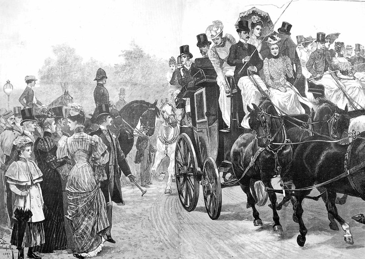 1892 Members of the Coaching Club and their guests on their way to Richmond for lunch after the parade in Hyde Park. Illustration in the Illustrated London News