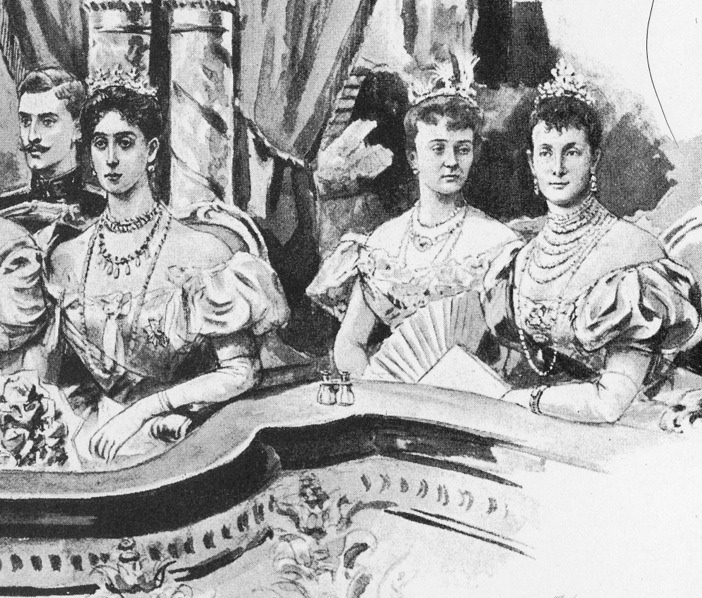1896 Ferdinand of Romania, Grand Duchess of Hesse (Ducky), Duchess of Connaught, and Grand Princess Maria Pavlovna detint