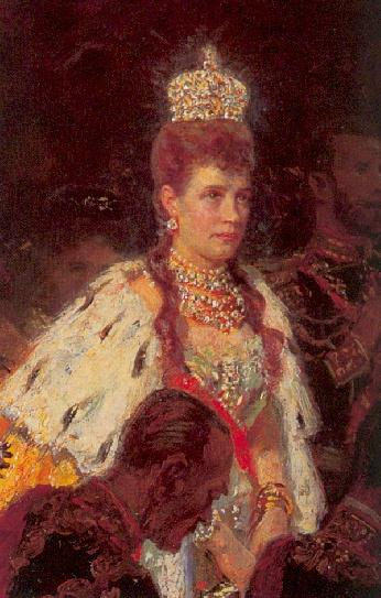 1896 outtake showing maria feodorovna in robes at the coronation