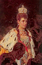 1896 Outtake showing Maria Feodorovna in robes at the Coronation of Nicholas II by Laurits Tuxen (Hermitage)