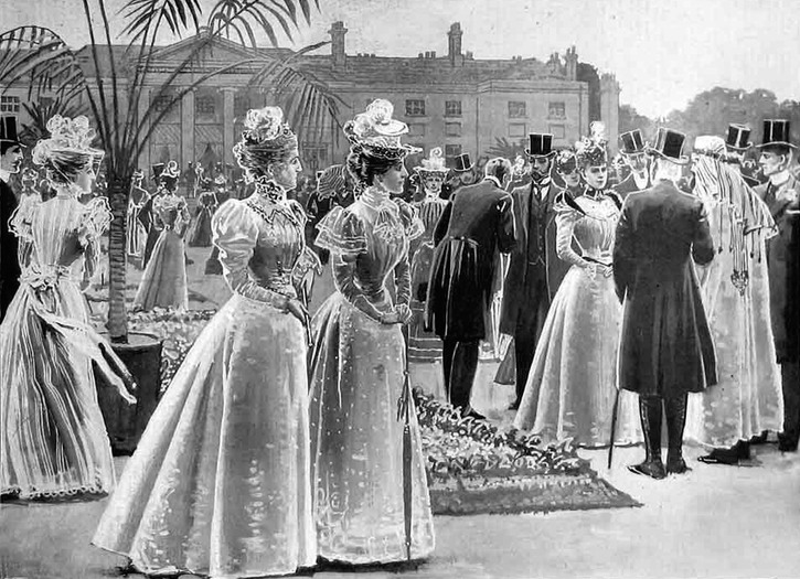1897 Garden Party in the garden Viceregal Lodge in Dublin, published on the occasion of the visit the Duke and Duchess of York in Ireland. Figure published in the Illustrated London News in August 1897 detint fixed