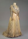 1898 Maria Feodorovna gold dress of chiffon, taffeta, satin and lace using printed pattern by Worth (Hermitage)