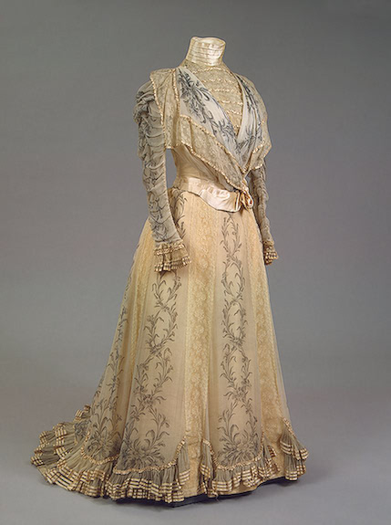 1898 Worth gold Maria Feodorovna dress Chiffon, taffeta, satin and lace;  printed pattern
