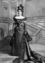 1899 Countess Victor di Carrobio, née Helene von Gutmann, wearing Paquin dress by Lafayette Photographic Studios (Victoria and Albert Museum - London, UK) From pinterest.co::AngelaMombers:1878-1890-victorian-2nd-bustle-era-tournure-era: