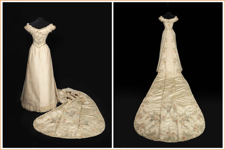 1900-1901 Court dress of Wilhelmina, Queen of the Netherlands front and back From pinterest.com-cmvanbennekom-geschiedenis-
