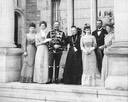 1900 Victoria, Empress-widow and her children (l. to r.) - Sofia, Victoria, Wilhelm II, Empress-widow Victoria, Charlotte, Prince Heinrich, and Margaret X 1.5