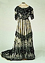 1900s Alexandra black lace on white evening dress