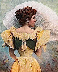 1902 Infanta Eulalia from the back holding fan