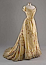 1903 Lady Curzon yellow satin dress