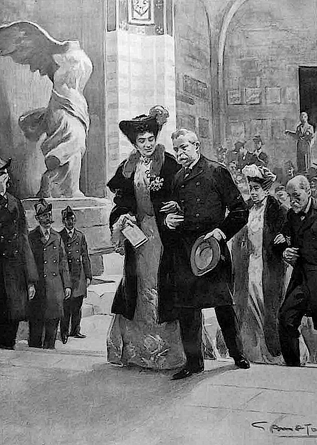 1903 Queen Helene visits the Louvre l'Illustration EB