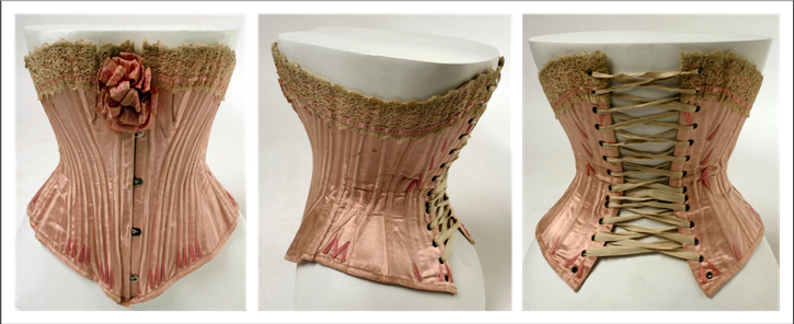 1904 French silk corset (Metropolitan Museum of Art - New York City, New York USA) front, side, and back