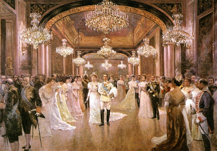1906 Alfonso XIII and Victoria Eugenia Wedding Reception by Juan Comba (location unknown to gogm) EmRod1's photostream on flickr