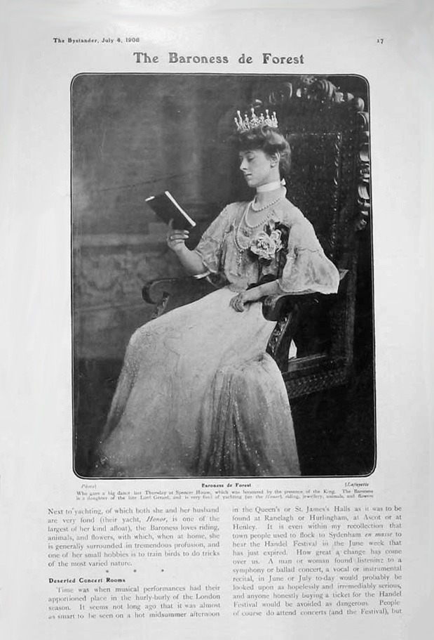 1906 Baroness deForest seated in formal dress detint