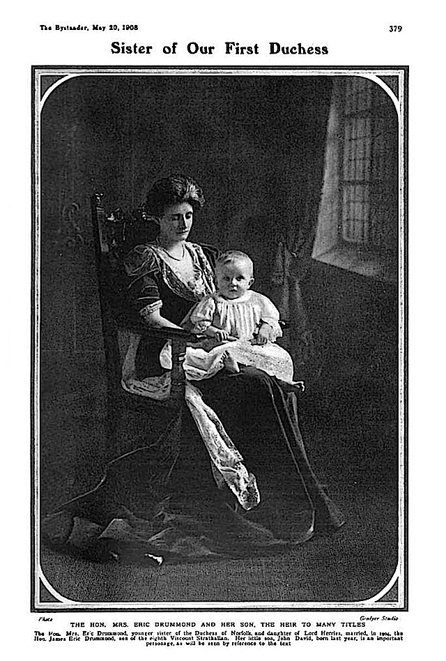 1908 Mrs. Eric Drummond, Angela Mary Constable-Maxwell from The Bystander of 20 May 1908
