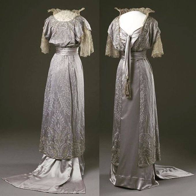 1910s Evening dress worn by Queen Maud of Norway (Nasjonalmuseet for kunst, arkitektur og design - Oslo, Norway) From pinterest.com:victorianfolly:fashion-history-ca-1870s-1950s: X 1.25