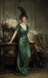 1912 Hon. Mrs Ernest Guinness, standing, full-length, wearing an emerald dress and feather by Sir Frank Bernard Dicksee (auctioned by Christie's) UPGRADE From books0977.tumblr.com:page:35 posted 1 July