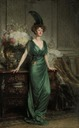 1912 Hon. Mrs Ernest Guinness, standing, full-length, wearing an emerald dress and feather by Sir Frank Bernard Dicksee (auctioned by Christie's)