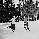 1914 Princess Patricia of Connaught and Major Worthington on the Skating Rink at Rideau Hall