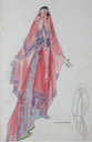 1915 Lucile fashion sketch for dress with veil From liveauctioneers.com:item:25552149 lucile-studio-fashion-sketches-circa-1915-20