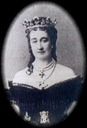 Photograph of the Empress Eugenie wearing a dark dress