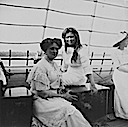 Alexandra and Olga behind her with another daughter to right (Romanov Collection, General Collection, Beinecke Rare Book and Manuscript Library, Yale University - New Haven, Connecticut USA)