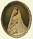 1863 Oval wedding portrait of Princess Alexandra by David Mossman (Royal Collection)