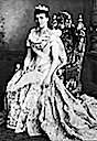 Amélie d'Orléans, Queen of Portugal seated wearing court dress