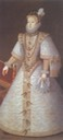 Ana de Habsburgo wearing white dress with gold embroidery by ? (location ?) the lost gallery trimmed fixed