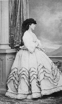 Archduchess Elisabeth Franziska wearing a crinoline and feathered hat