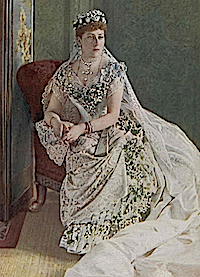 1885 Princess Beatrice seated in wedding dress