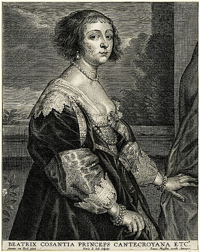 Béatrice de Cusance, Princess of Cantecroix by Pieter de Jode II after Sir Anthonis van Dyck (British Museum - London UK)
