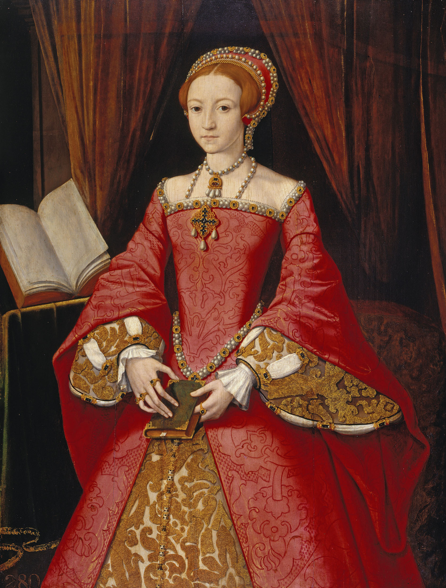 1546 Elizabeth I when Princess by William Scrots (?) (Royal Collection