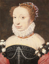 ca. 1560 Possibly Jeanne d'Albret, bust-length, in an embroidered black dress and a white ruff collar with pearls and jewels in her hair by François Clouet workshop (auctioned by Christie's) From Christie's Web site