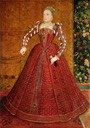 "ca. 1563 Queen Elizabeth I ""Hampden"" portrait wearing Spanish farthingale by Steven van der Meule (private collection) From the lost gallery's photostream on flickr trimmed"