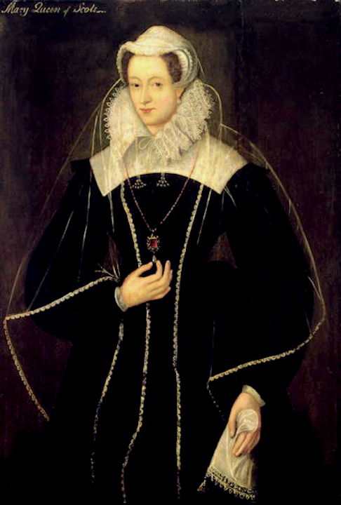 ca. 1578 Queen Mary of Scots in black and white by ? after Nicholas Hilliard (location ?) entire image From teaattrianon.blogspot.com:2013:02:the-rape-of-mary-queen-of-scots.html