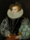 ca. 1585-1587 Mrs. John Croker, possibly Agnes Scrivington, by George Gower (location ?) From jeannedepompadour.blogspot.com:2012:06:english-portraits-1570-1630-george.html fixed l edge and upper r corner despot bckgnd X 2