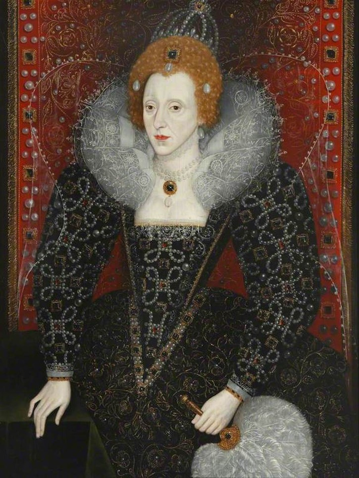 ca. 1590 Elizabeth I (1533–1603) by ? (Magdalen College, University of Oxford - Oxford, Oxfordshire, UK) From artuk.org X 1.5