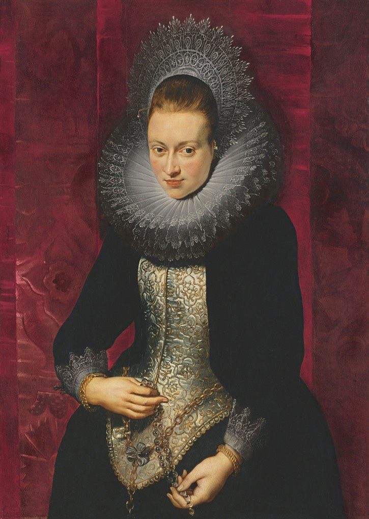ca. 1609-1610 Young woman with rosary or Isabella Margherita Farnese by Peter Paul Rubens (Museo Thyssen-Bornemisza - Madrid, Spain) Wm