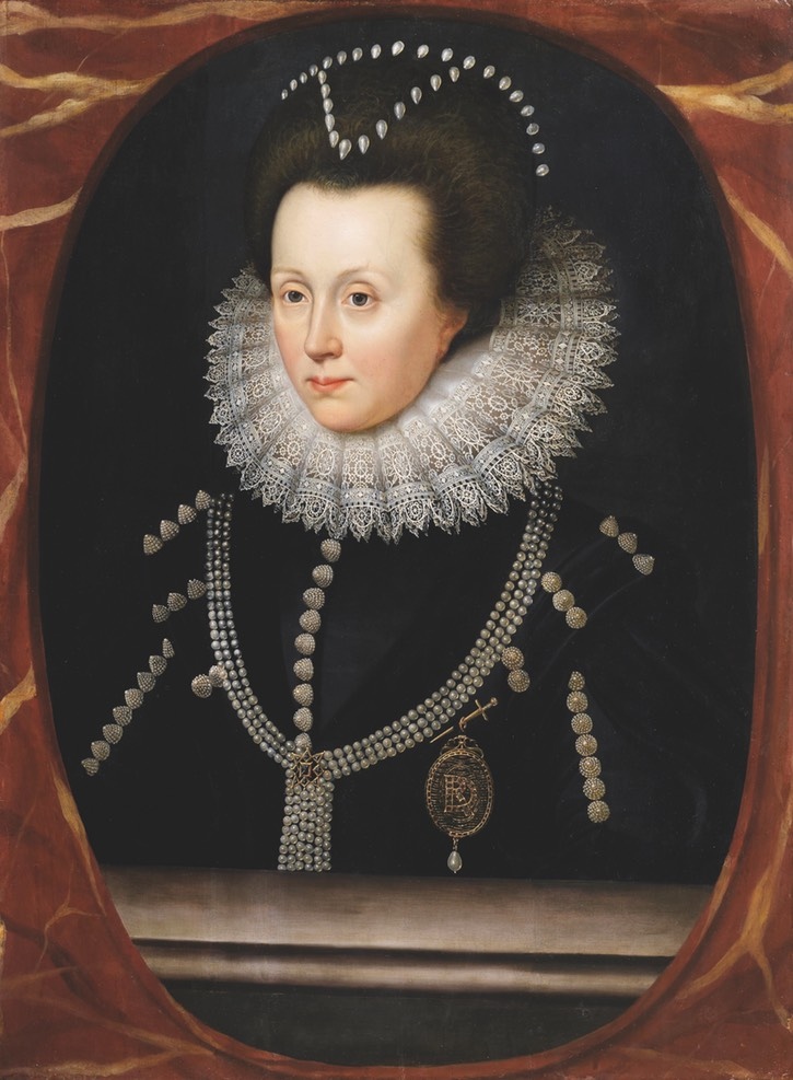ca. 1615 Elizabeth Drury Countess of Exeter by William Larkin (location unknown to gogm) From pinterest.com:Hattie995:%7E-1600-1620-female-clothing-%7E: