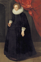 ca. 1630 Lady Harbord, full-length, in a black dress with lace collar and cuffs and holding a pocket watch, in an interior by ? (auctioned by Christie's) From mutualart.com-Artwork-Portrait-of-Lady-Harbord--full-length--i-8BE0CD4383778A09 shadows