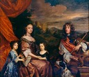 ca. 1661 (based on estimated age of children) Duke and Duchess of York with their two daughters Mary (l.) and Anne (r.) by Sir Peter Lely (Royal Collection) Wm