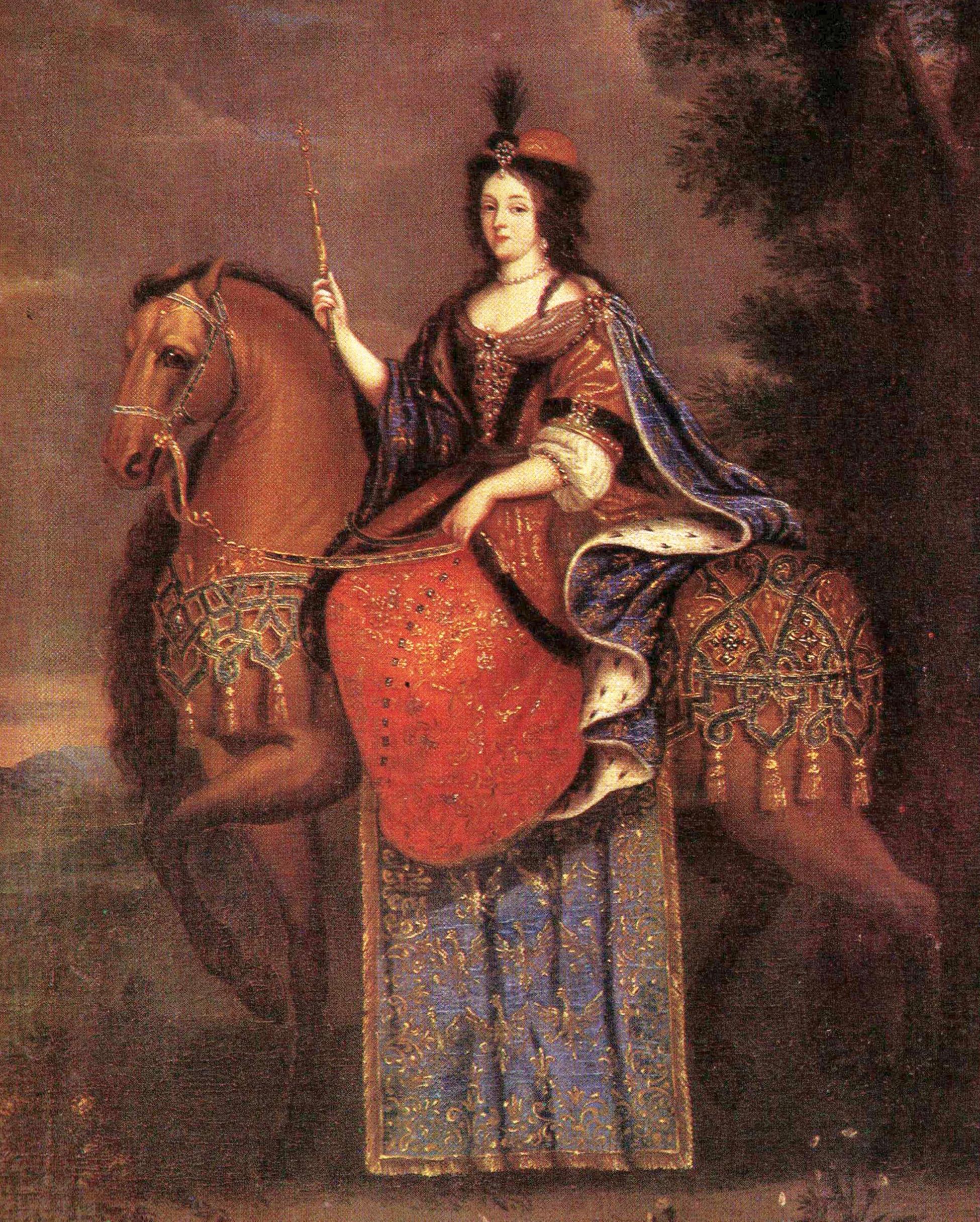 1686 Equestrian portrait of Maria Kazimiera Sobieska by ? (Muzeum Pałacu  Króla Jana