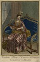 ca. 1696 Charlotte, Duchess of Modena, playing a guitar and wearing a striped dress with flower ornaments and a fontange head-dreess