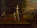 ca. 1717 Lady Mary Wortley Montagu with her son, Edward Wortley Montagu, and attendants, by Jean Baptiste Van Mour (National Portrait Gallery - London UK) entire image Wm